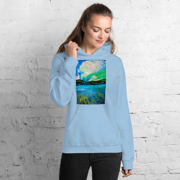 Ocean + Sky Womens Hoodies   CruzArtz Fine Arts