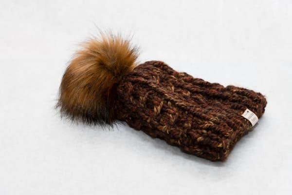Katahdin Knit Brown Multi Color Pom Pom Hat | http://www.mooseprintsgallery.com
