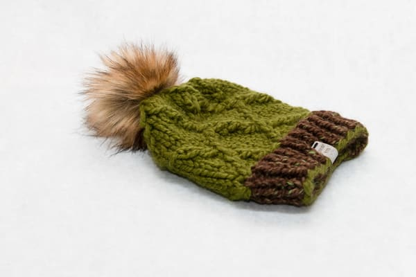 Katahdin Knits Green And Brown Pom Pom Hat | http://www.mooseprintsgallery.com