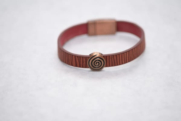 Red And Copper Magnetic Clasp Bracelet | http://www.mooseprintsgallery.com