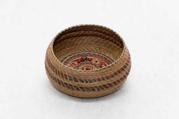 Hand Woven Pine Needle Basket With Sliced Walnut And Bead Base | http://www.mooseprintsgallery.com