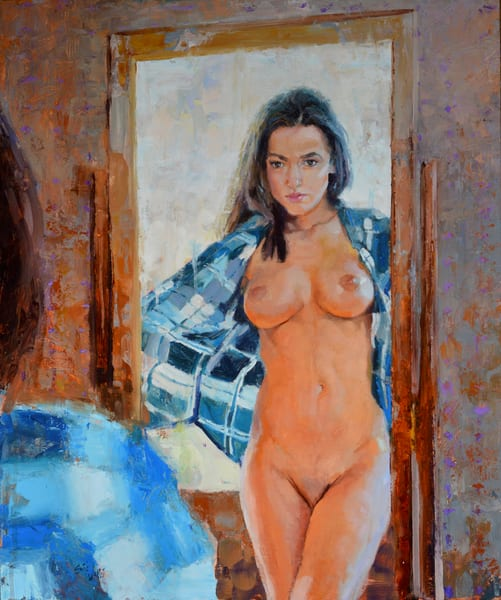"Original nude painting by Eric Wallis titled, ""Reflection."""