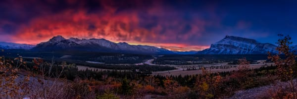 Sunrise color dancing in the skies above the Bow Valley.