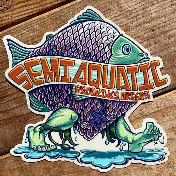 Spencer Reynolds Semi Aquatic Fishman Sticker