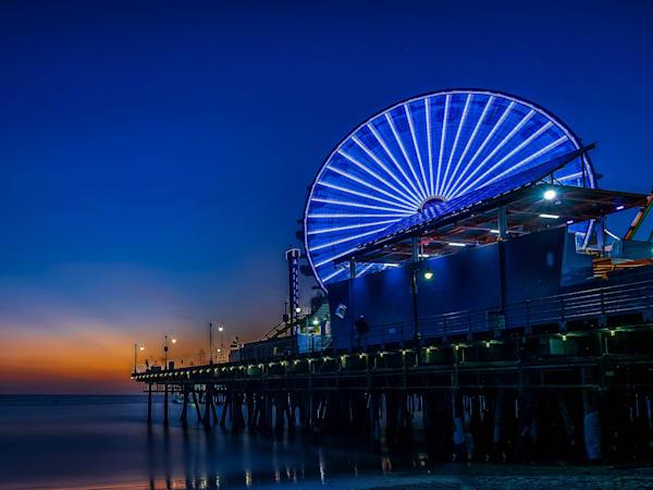 Santa Monica Pier Blue Dusk 2 Photography Art | William Drew Photography