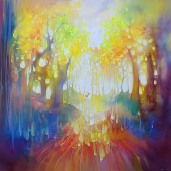 the spirit guide deer in an autumn forest painting