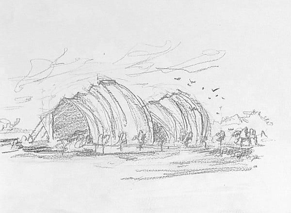 Kc Kauffman Center Sketch 1   8x10 Art | Steven Dragan Fine Art