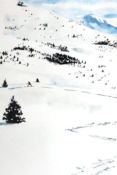Cross Country Skiing 5x7 Art | Steven Dragan Fine Art