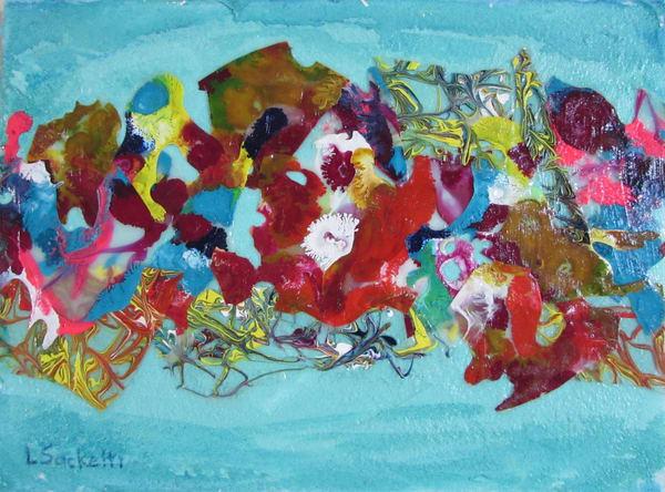 Abstract In Teal Art | Linda Sacketti