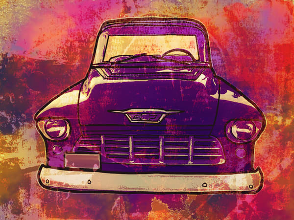 1957 Chevy Truck Country Road Red by artist and photographer, Karlana Pedersen