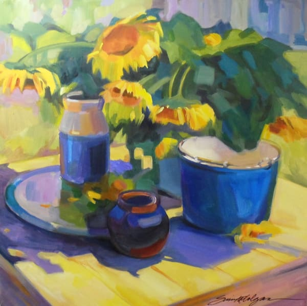 Sunflowers In Blue Art | susie mccolgan art