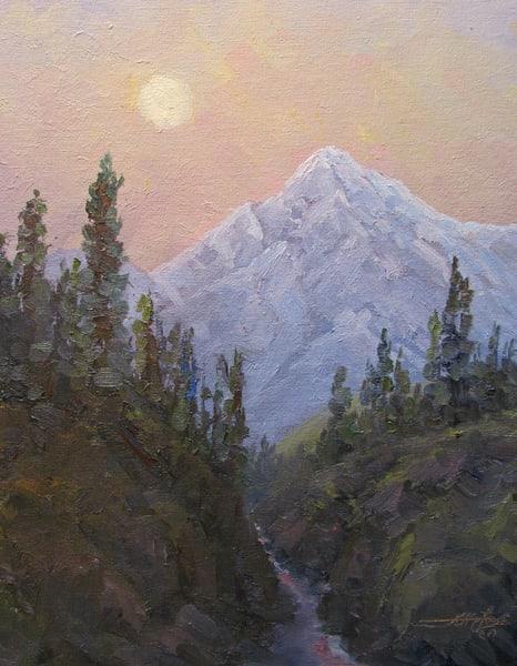Mountain And Moon In Pink Art | Artisanjefflove