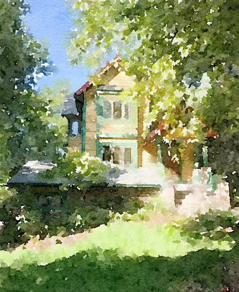 Crestwood-house, photo-watercolor, print, house and garden