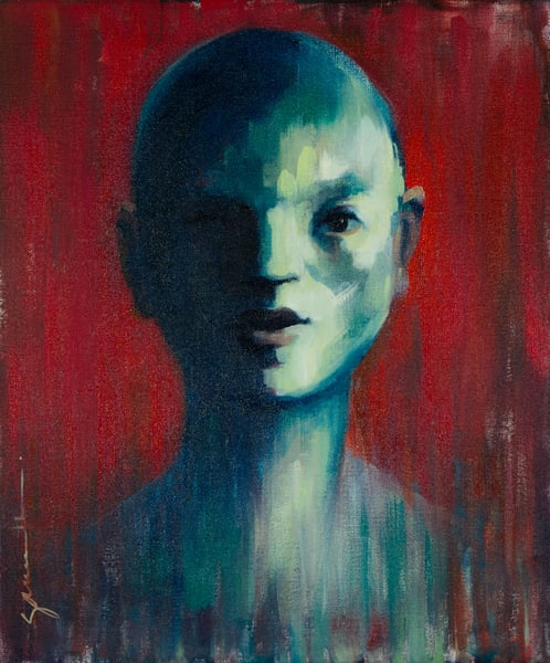face, red, green, figurative