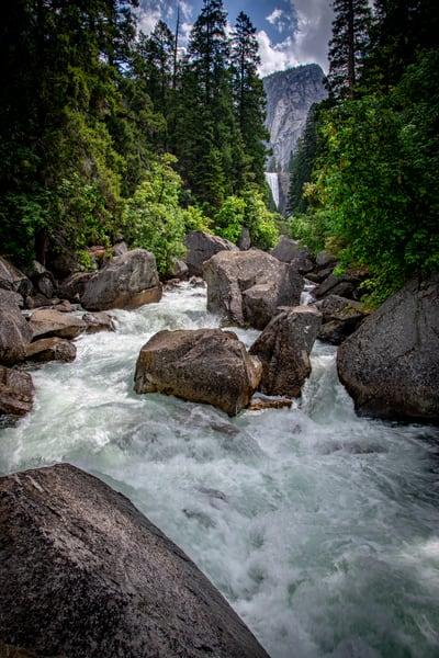Merced River Flows Below Vernal Falls