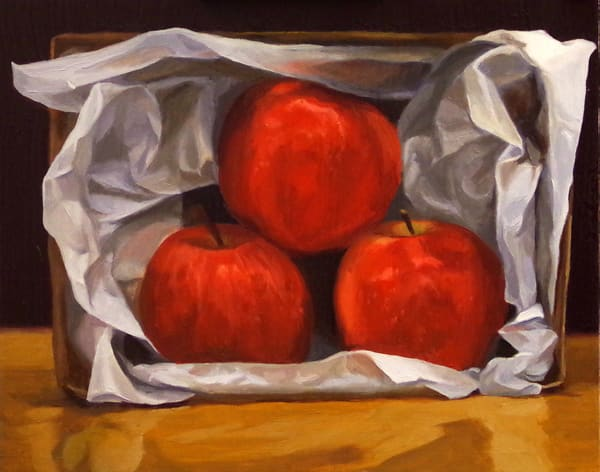Apples In A Cardboard Box Art | Helen Vaughn Fine Art