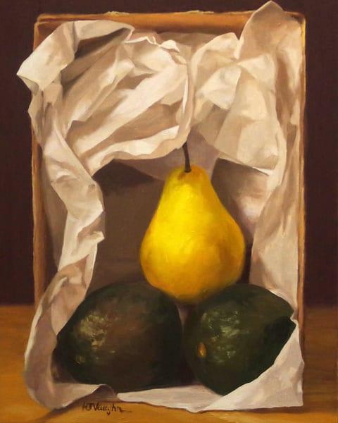 Two Avocados And A Bartlett Art | Helen Vaughn Fine Art