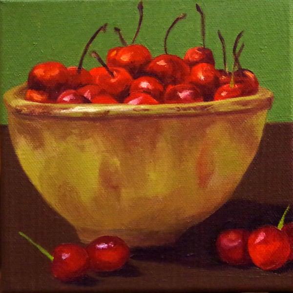 Cherries In Clair's Bowl Art | Helen Vaughn Fine Art