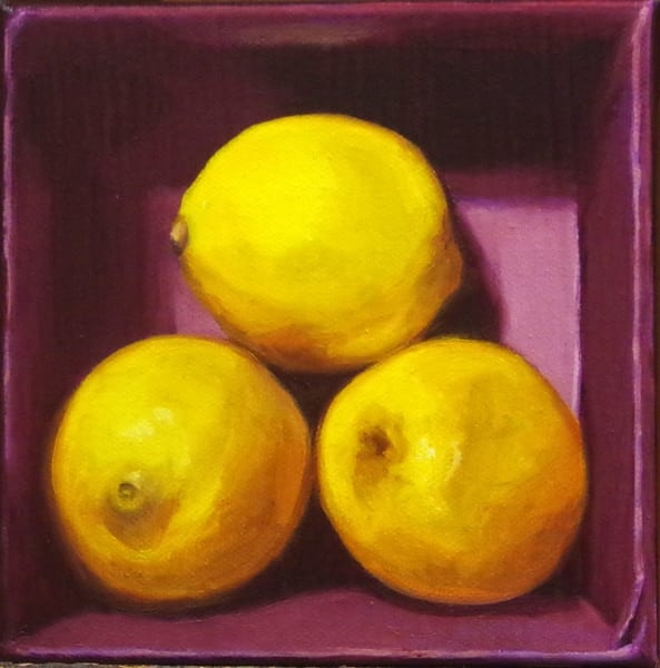 Lemons In A Purple Box Art | Helen Vaughn Fine Art