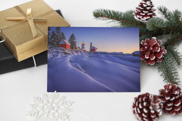 Newfallen Snow at Pemaquid Point Greeting Card | Shop Photography by Rick Berk