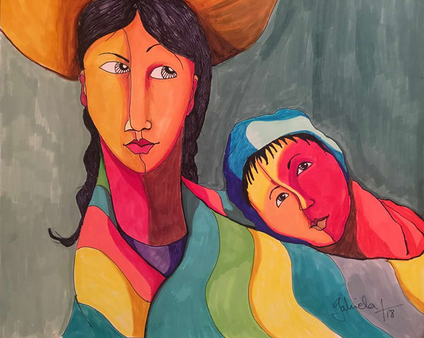 Woman With Baby Art | womanoftheandes