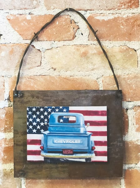 Americana Chevy Rusted Metal Print