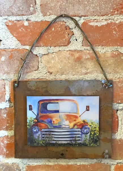 Technicolor Chevy Rusted Metal Print