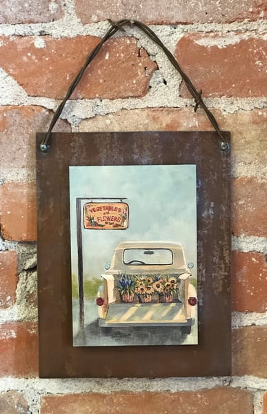 To Market Rusted Metal Print