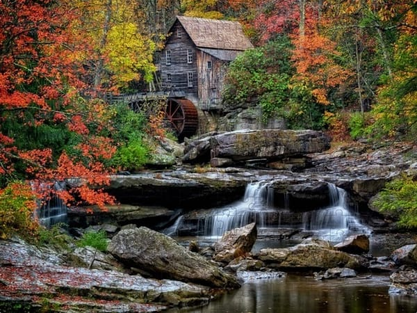 Autumn at Glade Creek Grist Mill Jigsaw Puzzle   Shop Photography by Rick Berk