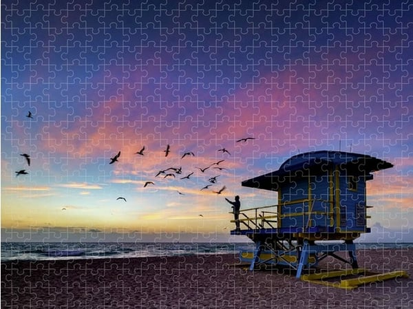 Morning Ritual on South Beach Jigsaw Puzzle   Shop Photography by Rick Berk