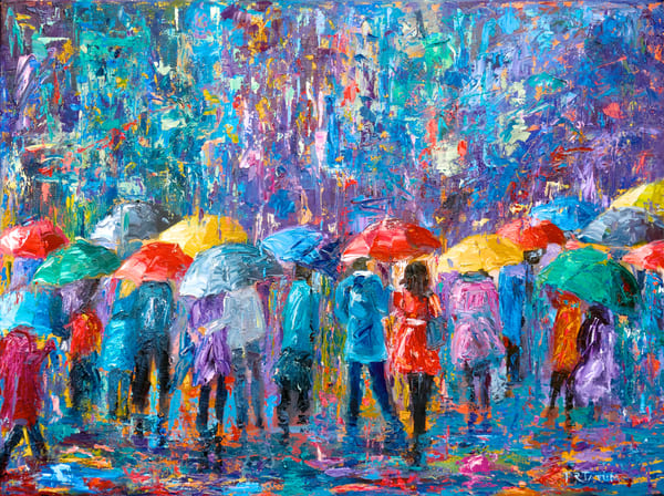 Lovers Walk In City Rain V  Art | Pamela Ramey Tatum Fine Art