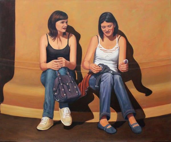 Two Young Women Sitting Together   Original Painting Art | Lidfors Art Studio