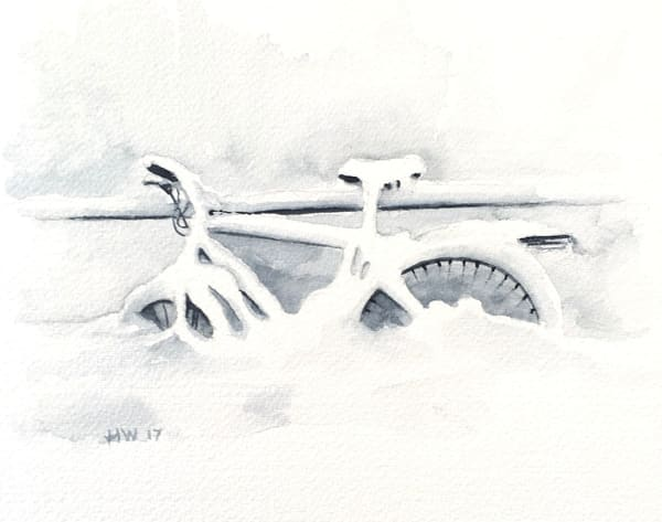 Bike In Snow Notecards | Holly Whiting Art