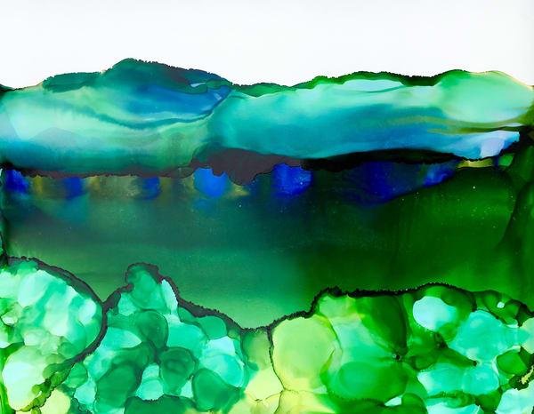 Flora With Cobalt, Original Art | Sandy Smith Gerding Artwork