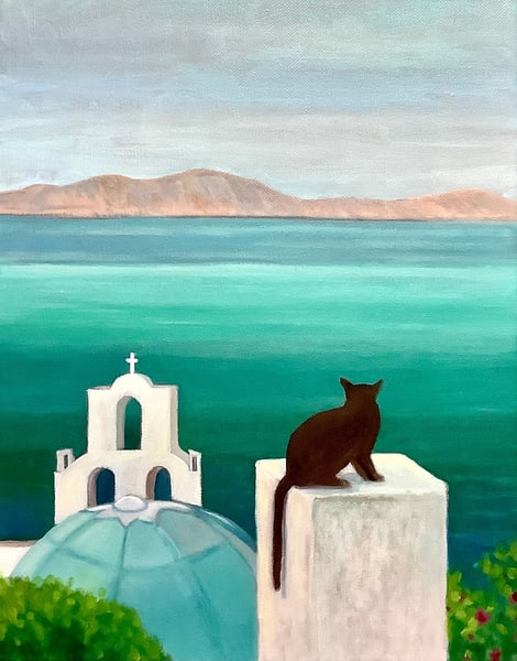 Santorini Dreaming Original Romantic Landscape Fine Art Oil Painting