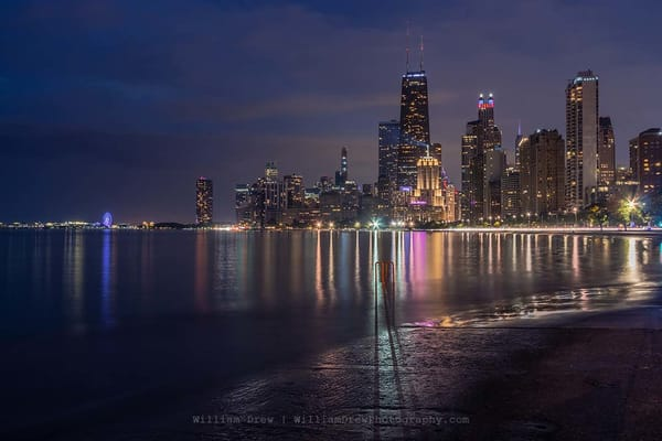 Chicago Nights   City Skyline Murals Photography Art | William Drew Photography