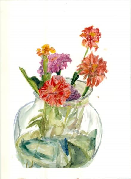 Vase Of Zinnias Art   Howard Lawrence Fine Art
