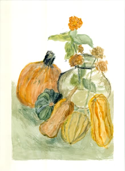 Last Zinnia Still Life With Autumn Squash Art | Howard Lawrence Fine Art