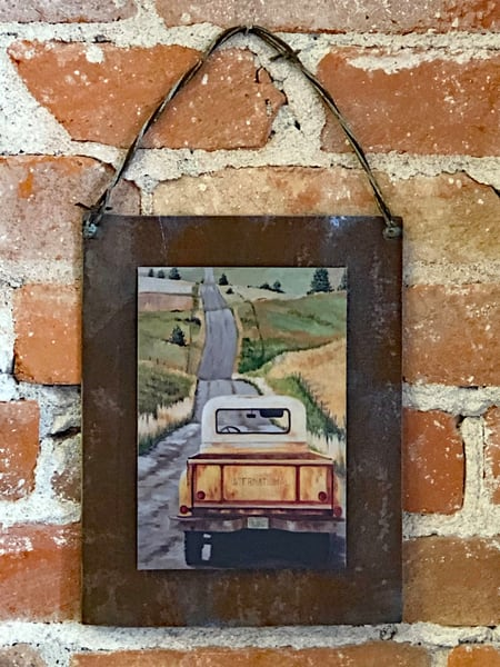 The Forever Road Rusted Metal Print