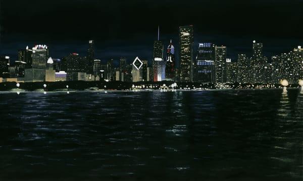 Chicago City Skyline Night
