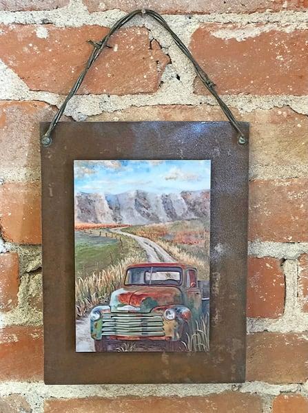 Purple Mountain Road Rusted Metal Print