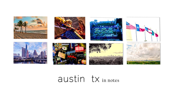 Art prints 5x7 Austin TX images in a bundle for gift
