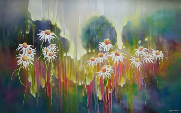 a painting of white daises in a summer meadow