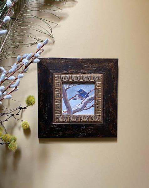 """Snowy Morning Santa Fe Bluebird"" Oil Painting Art   Maniscalco Art"