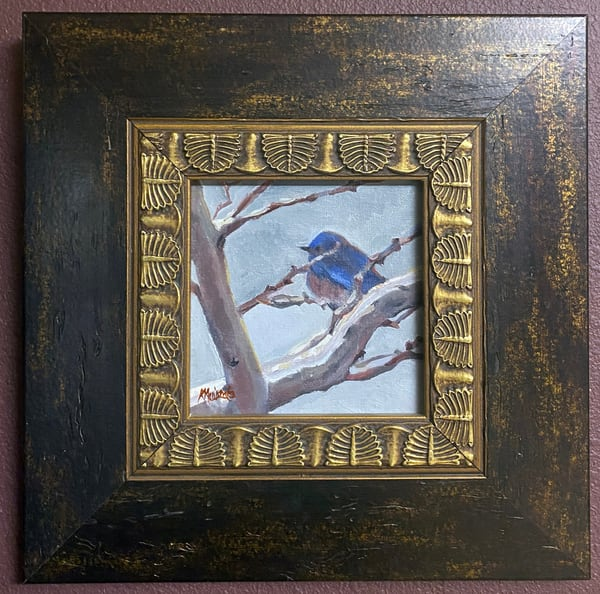 """Snowy Morning Bluebird"" Oil Painting Art 