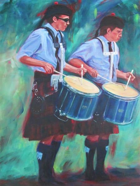 Two Drummers Art   Lesley McVicar Art