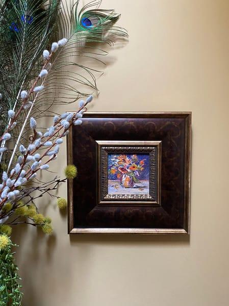 """Purple Orange Floral"" Oil Painting Art   Maniscalco Art"