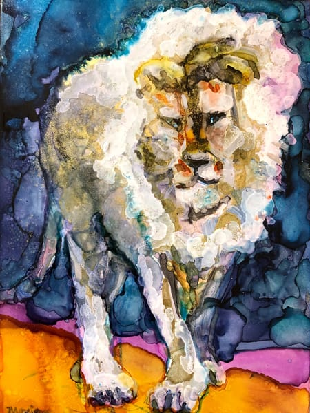 "Gorgeous ""Miracles of the Magnificent (Ready to Roar 16)"" prophetic art alcohol ink painting of Jesus the  gold and white Lion by Monique Sarkessian."