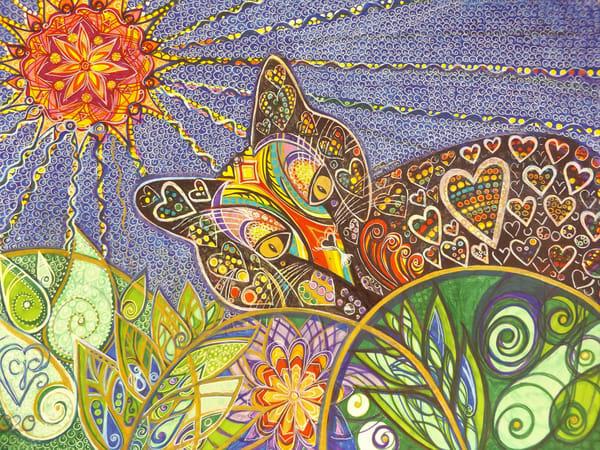 Black Cat With Rainbow Love Art | Cynthia Christensen Art