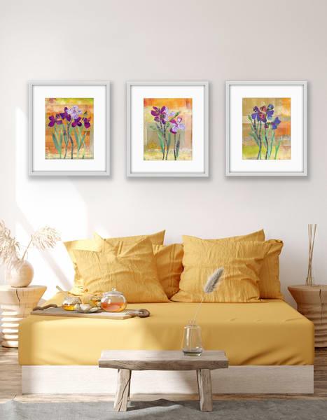 Iris Set Of 3 Art | Jenny McGee Art